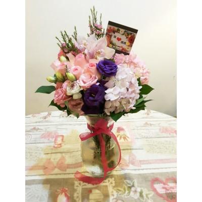 母亲节鲜花花束(带花瓶)
